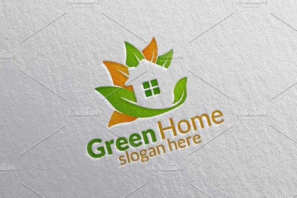 Green Home Leaf Real Estate Logo