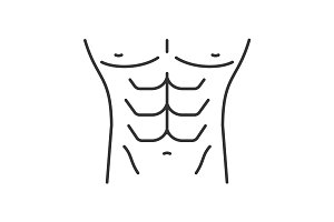Muscular male torso linear icon