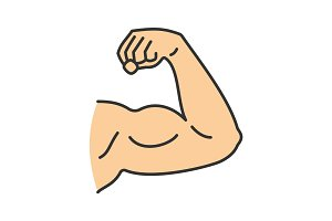Male bicep color icon
