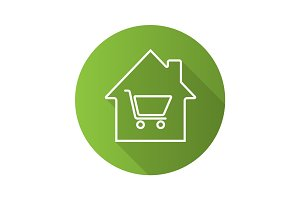 Household goods store flat linear long shadow icon