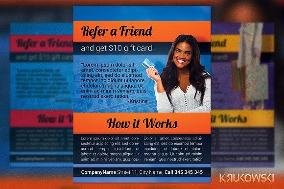 refer a friend flyer flyer templates creative market