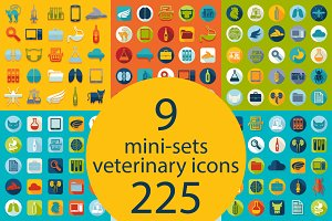 9 VETERINARY sets of icons