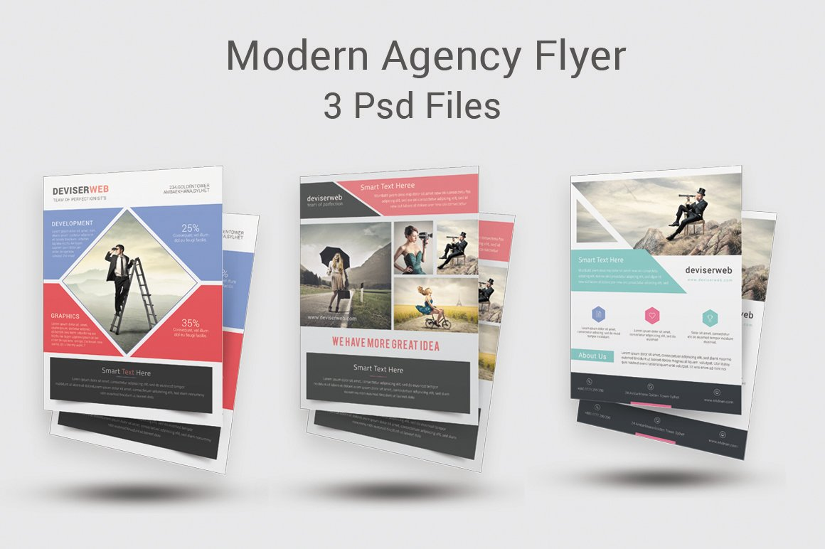 Modern agency flyer templates flyer templates creative for Modern brochure template