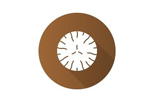 Nutmeg flat design long shadow glyph icon