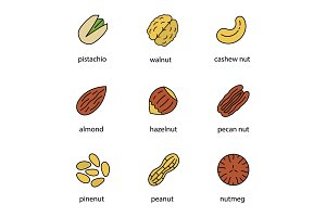Nuts types color icons set