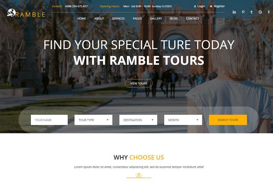 Ramble - Tour & Travel HTML Template