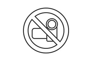 Forbidden sign with video camera linear icon