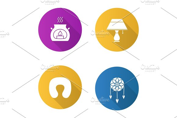 Sleeping Accessories Flat Design Long Shadow Glyph Icons Set