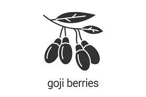 Fresh goji berries glyph icon
