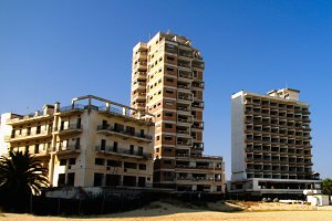 exterior view to Varosha, abandoned district of Famagusta, Nothern Cyprus