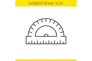 School protractor linear icon