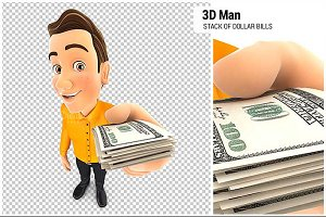 3D Man Holding Dollar Bills