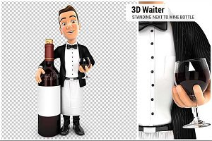 3D Waiter Red Wine Bottle