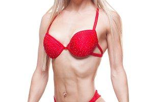 smiling woman in good shape wearing a red underwear