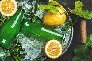 Bottles of green lemonade