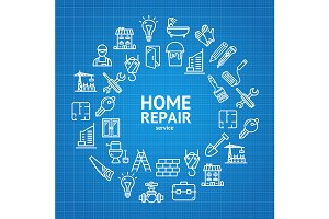 Home Repair Concept Icons
