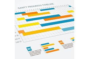 Gantt Progress Line. Vector