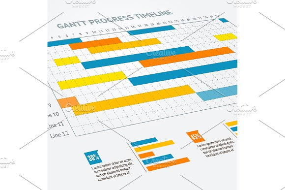 Gantt Progress Line Vector