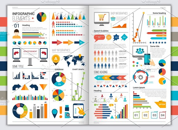 Flat Paper Infographic Set