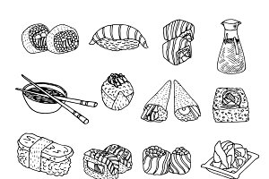 Asia seafood cuisine menu icons set
