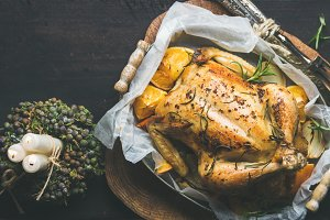 Christmas holiday roasted chicken