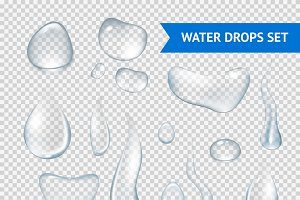 Pure clear water drops realistic set