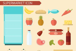 Supermarket decorative icon set