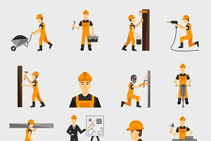 Construction worker flat icons set