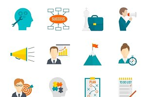 Business motivation icon set