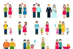 Family figures icons set