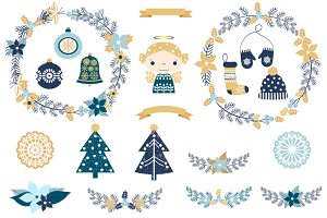 Cute rustic Christmas clipart set