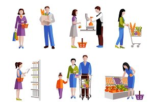 People in supermarket icons set