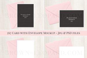 5x7 card & envelope mockup - jpg,psd