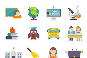 School icon flat set