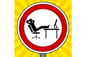Road sign lazy people pop art vector
