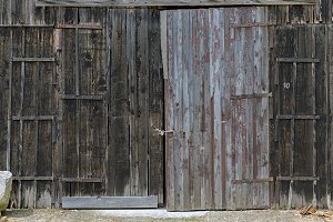 Old wooden door closeup photo