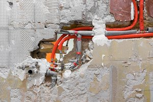New water plumbing in the wall