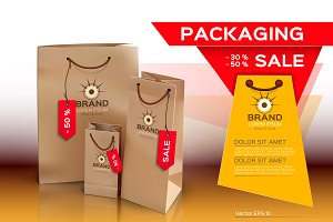 Vector sales package bags mockup