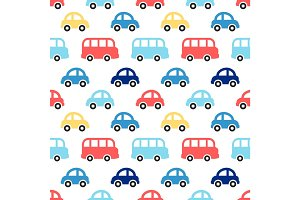 Cute retro seamless boy pattern with colorful cars and buses