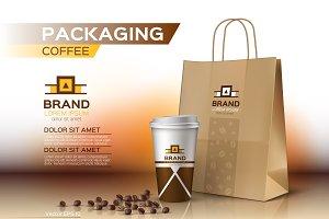 Vector coffee packaging mockup