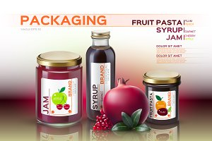 Vector fruits jam bottle mockup