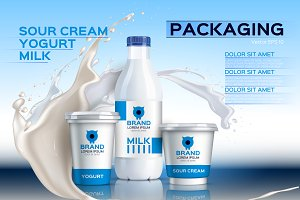 Vector milk package mockup