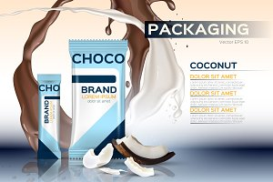Vector coconut chocolate mockup