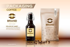 Vector coffee package mockup