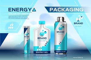 Vector energy drink set mockup