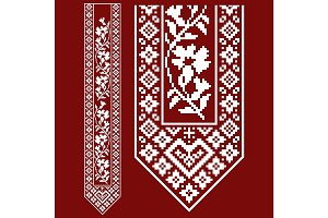 Traditional embroidery. Vector illustration of ethnic seamless ornamental geometric patterns for your design