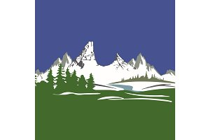Vector view with mountains and forest