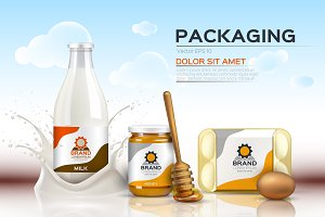 Vector food milk package mockup