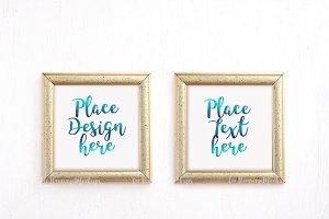 two gold frames mockup minimal