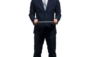 Businessman holding the laptop